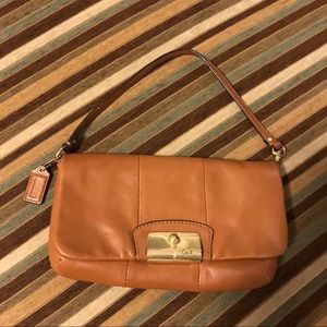 Coach Brown Leather Wristlet/Clutch